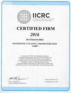 IICRC Certifies Systematic Cleaning and Restoration in several categories of damage restoration